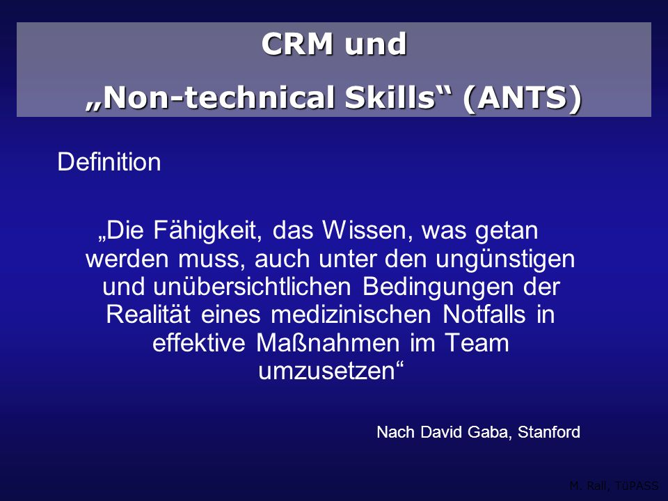 """Non-technical Skills (ANTS)"