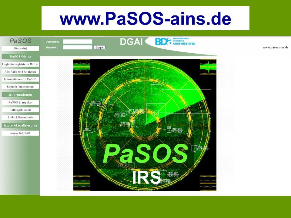 www.PaSOS-ains.de Patienten-Sicherheits-Optimierungs-System für Anästhesie, Intensivtherapie, Notfallmedizin und Schmerztherapie.