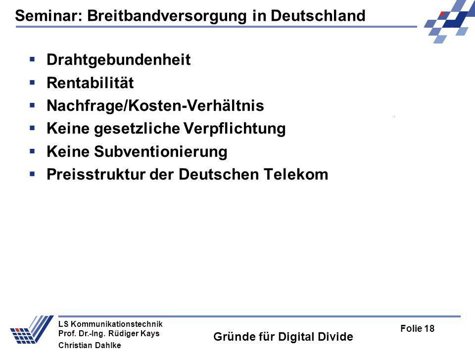 Gründe für Digital Divide