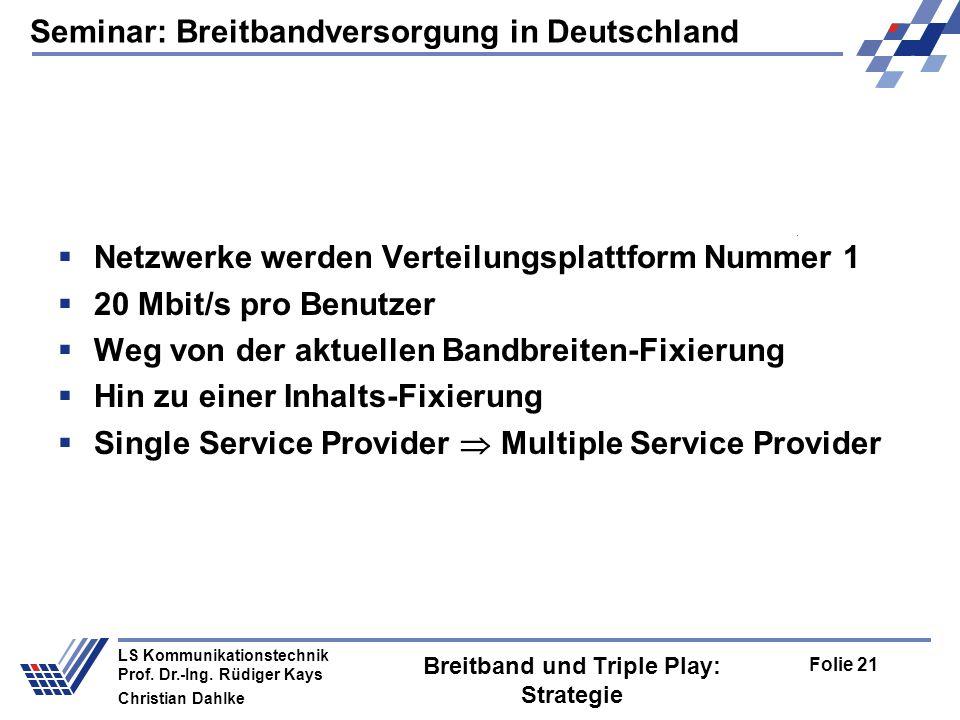 Breitband und Triple Play: Strategie