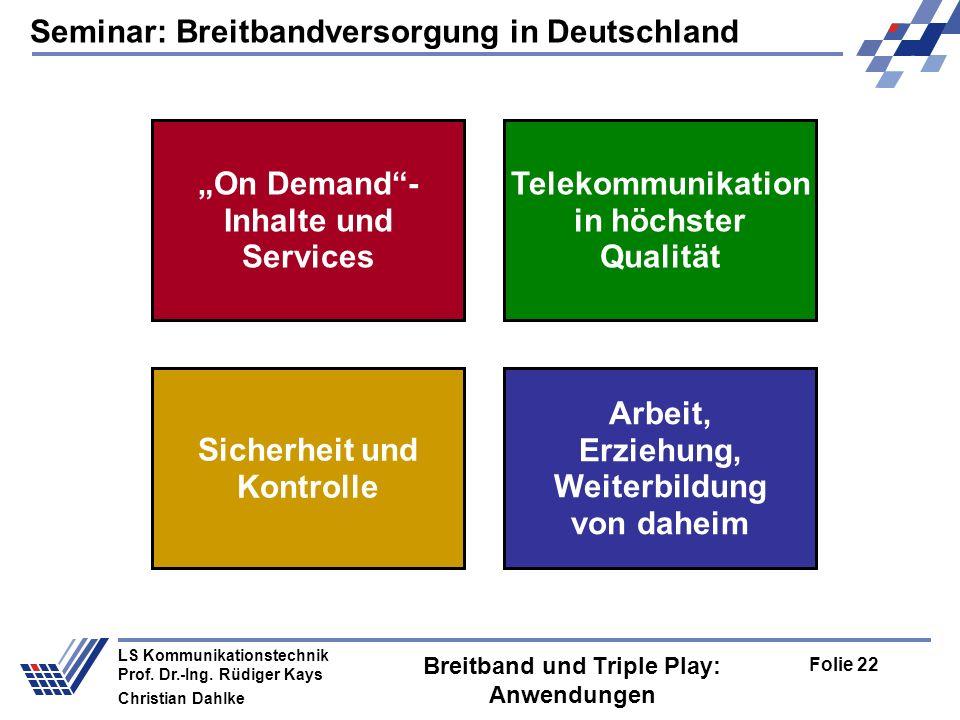 Breitband und Triple Play: Anwendungen