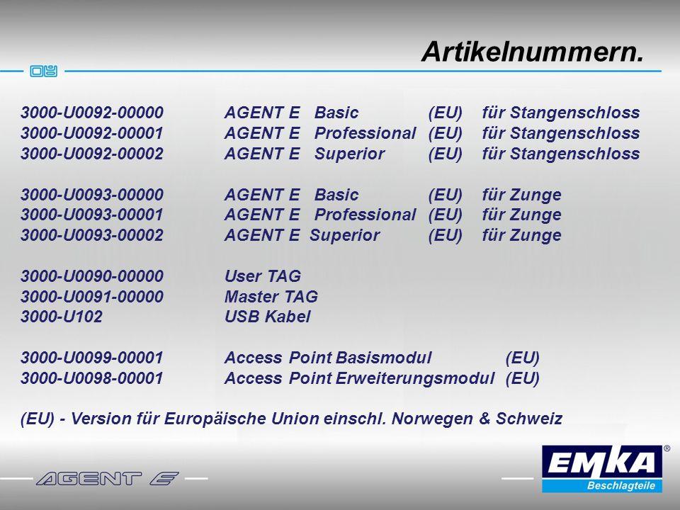 Artikelnummern. 3000-U0092-00000 AGENT E Basic (EU) für Stangenschloss