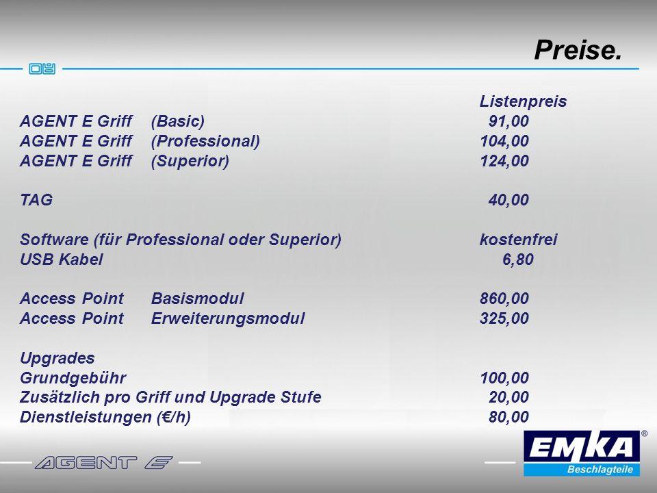 Preise. Listenpreis AGENT E Griff (Basic) 91,00