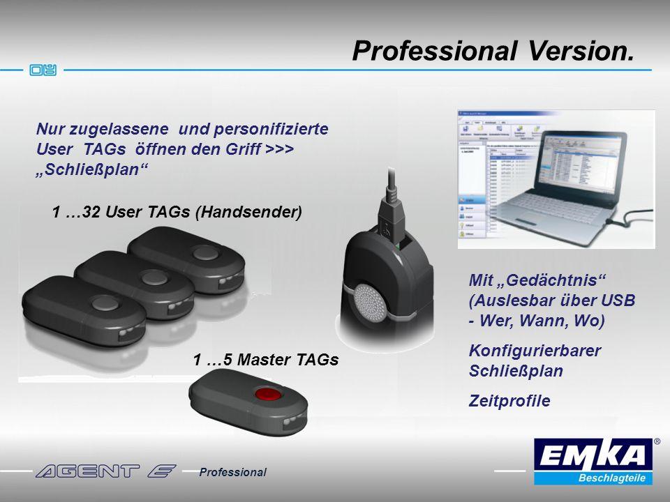 """Professional Version. Nur zugelassene und personifizierte User TAGs öffnen den Griff >>> """"Schließplan"""