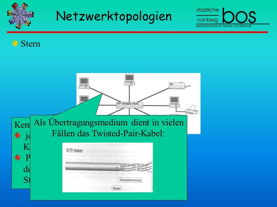 Als Übertragungsmedium dient in vielen Fällen das Twisted-Pair-Kabel: