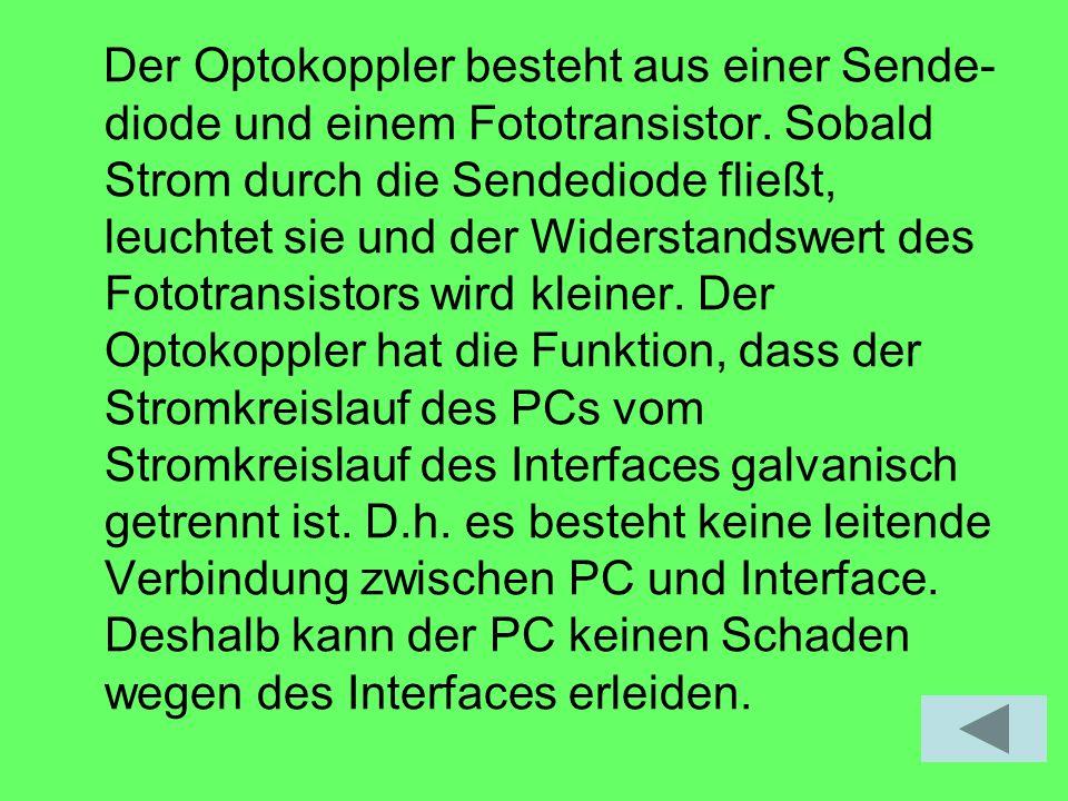 Der Optokoppler besteht aus einer Sende-diode und einem Fototransistor