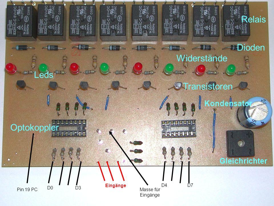 Relais Dioden Widerstände Leds Transistoren Optokoppler Kondensator