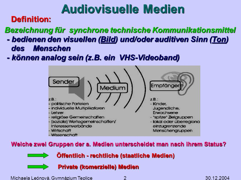 Audiovisuelle Medien Definition: