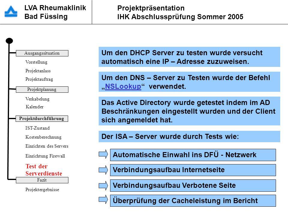 Test der Serverdienste