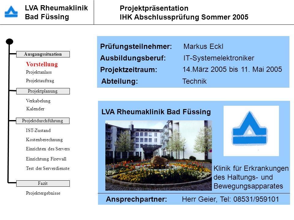 Vorstellung Prüfungsteilnehmer: Markus Eckl Ausbildungsberuf: