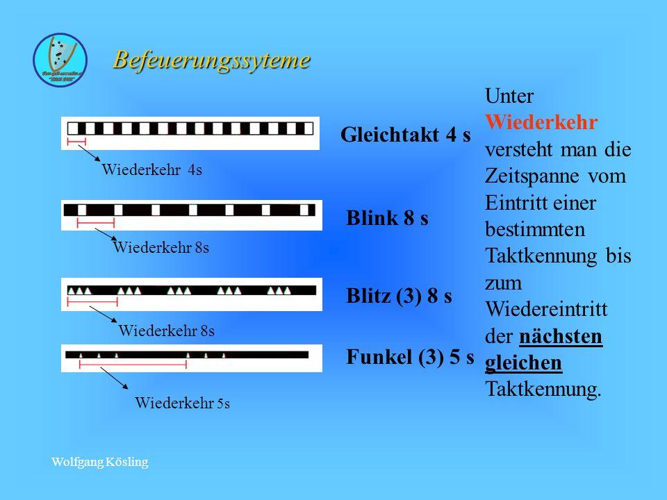 Befeuerungssyteme Gleichtakt 4 s. Wiederkehr 4s. Blink 8 s. Wiederkehr 8s. Funkel (3) 5 s. Wiederkehr 5s.