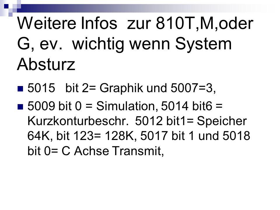 Weitere Infos zur 810T,M,oder G, ev. wichtig wenn System Absturz