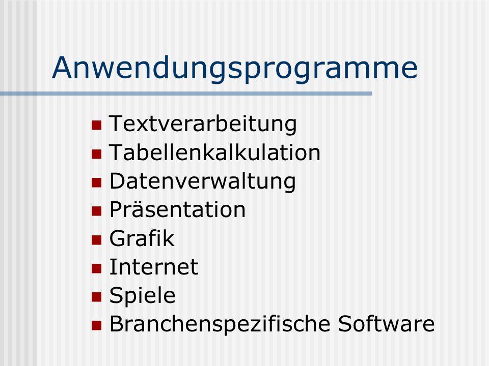 Anwendungsprogramme Textverarbeitung Tabellenkalkulation