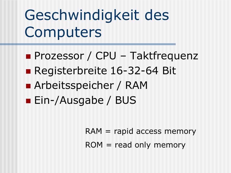 Geschwindigkeit des Computers
