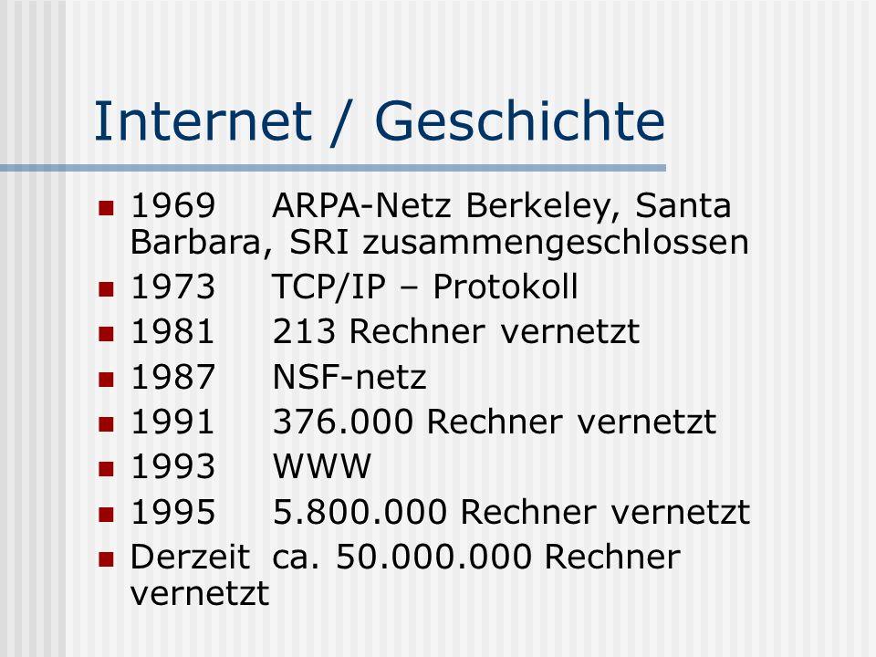 Internet / Geschichte 1969 ARPA-Netz Berkeley, Santa Barbara, SRI zusammengeschlossen. 1973 TCP/IP – Protokoll.