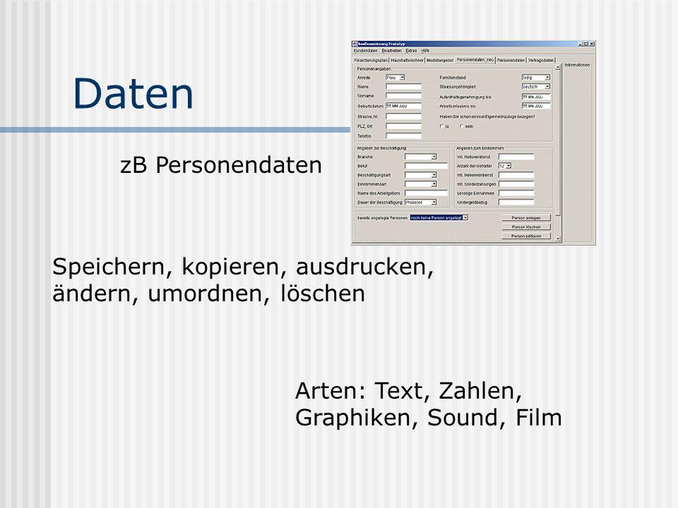 Daten zB Personendaten