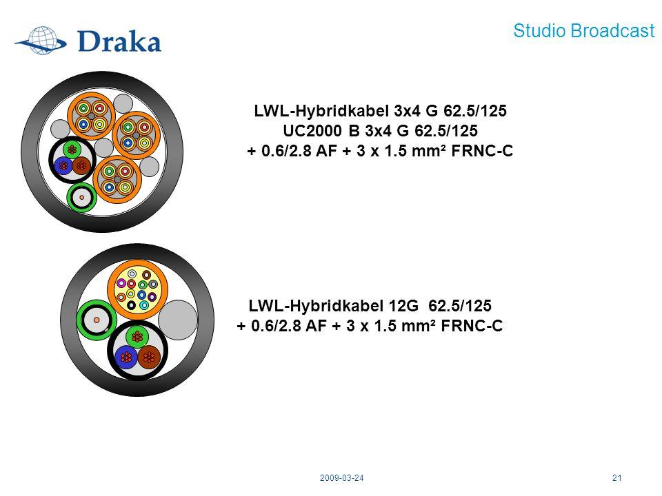 Studio Broadcast LWL-Hybridkabel 3x4 G 62.5/125
