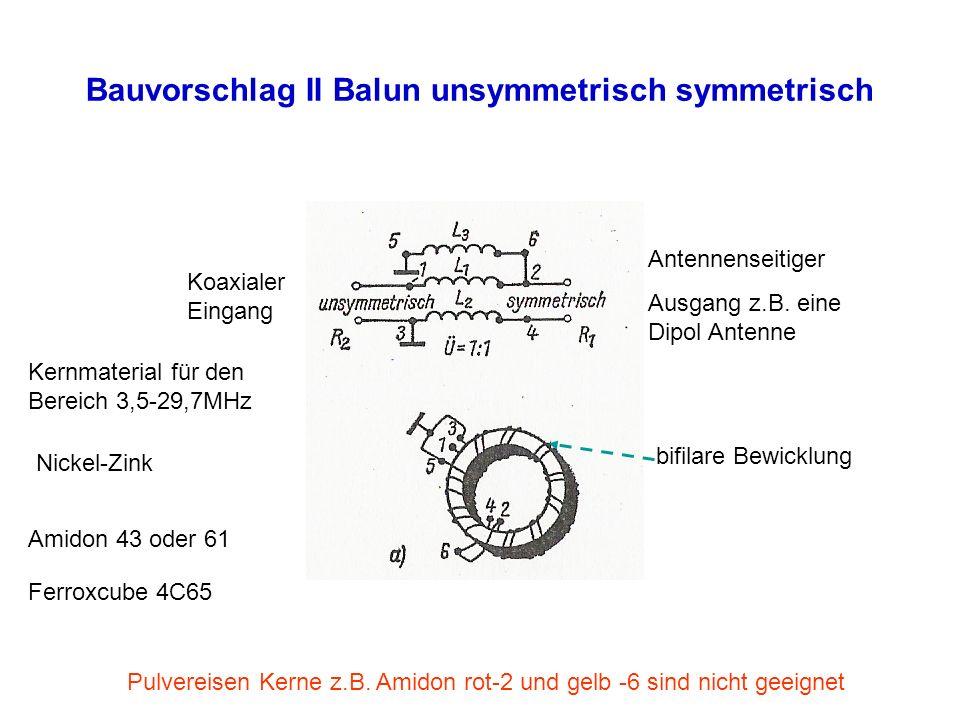 Bauvorschlag II Balun unsymmetrisch symmetrisch