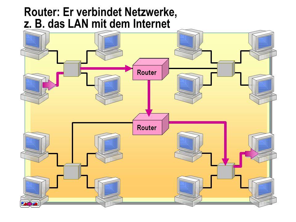 Router: Er verbindet Netzwerke, z. B. das LAN mit dem Internet
