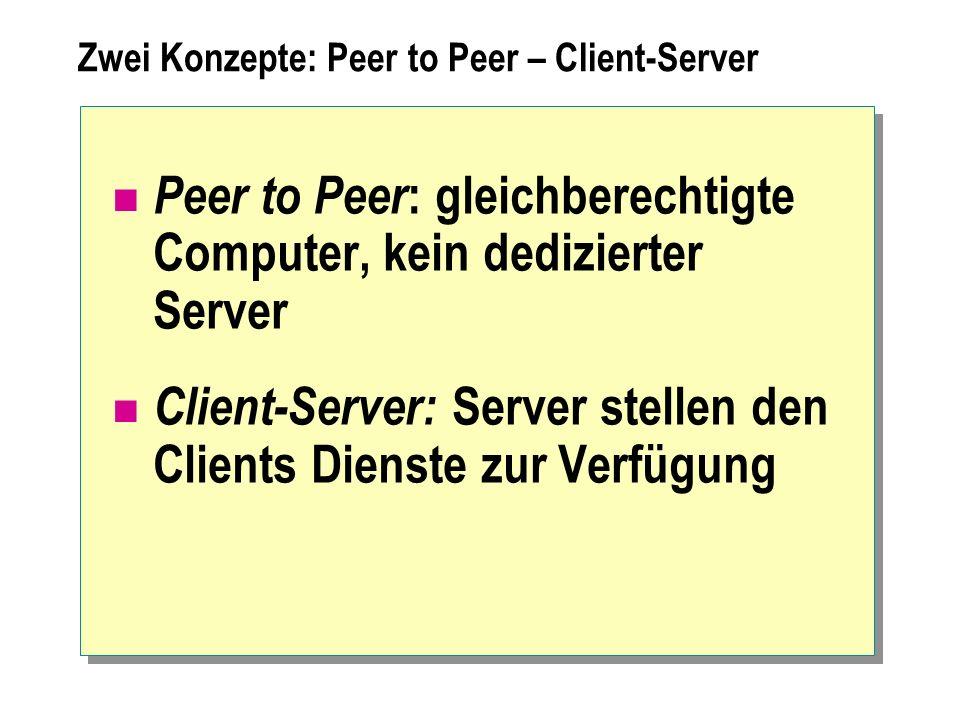 Zwei Konzepte: Peer to Peer – Client-Server