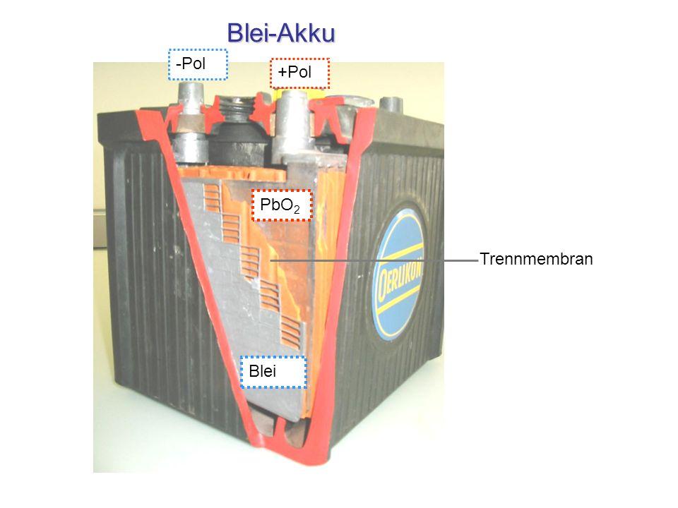 Blei-Akku -Pol +Pol PbO2 Trennmembran Blei