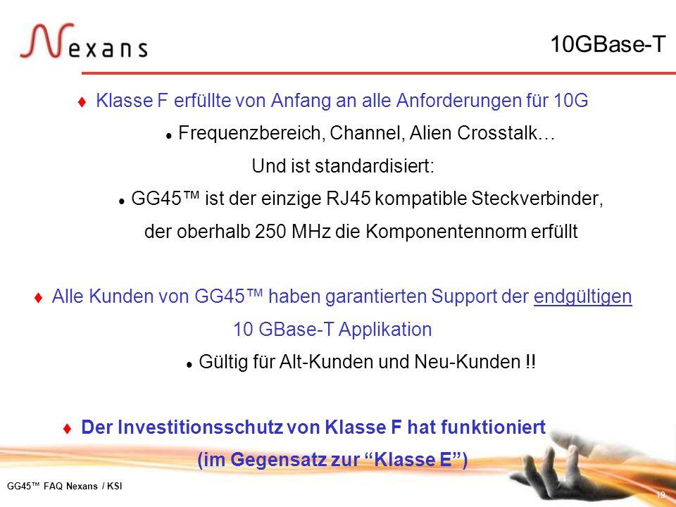 10GBase-T Klasse F erfüllte von Anfang an alle Anforderungen für 10G