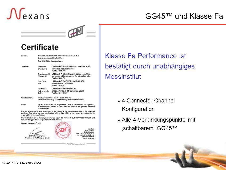 GG45™ und Klasse FaKlasse Fa Performance ist bestätigt durch unabhängiges Messinstitut. 4 Connector Channel Konfiguration.