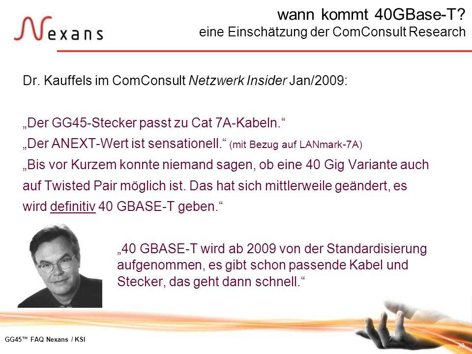wann kommt 40GBase-T eine Einschätzung der ComConsult Research