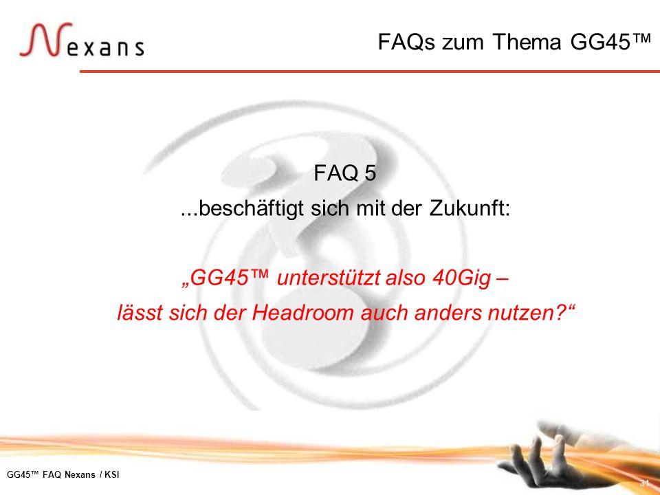 FAQs zum Thema GG45™ FAQ 5 ...beschäftigt sich mit der Zukunft: