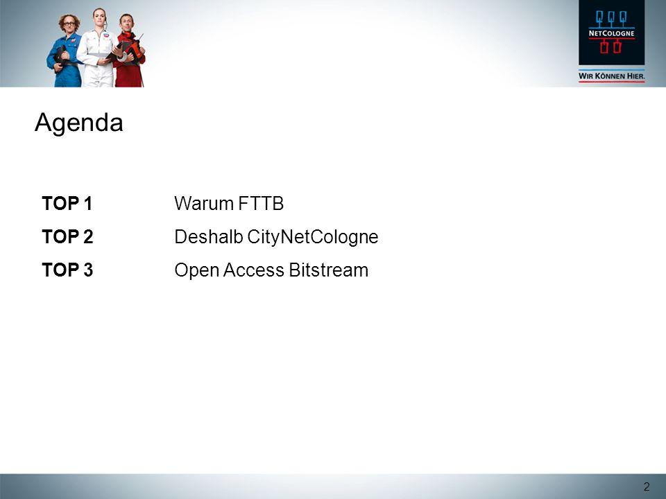 Agenda TOP 1 Warum FTTB TOP 2 Deshalb CityNetCologne