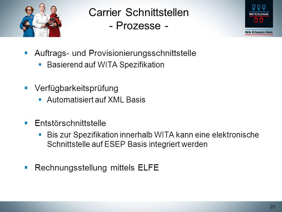 Carrier Schnittstellen - Prozesse -