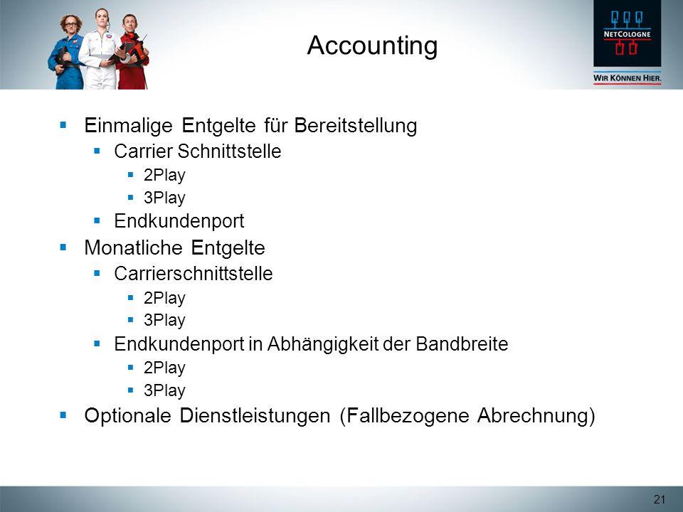 Accounting Einmalige Entgelte für Bereitstellung Monatliche Entgelte
