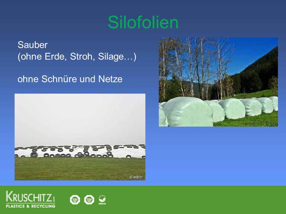 Silofolien Sauber (ohne Erde, Stroh, Silage…) ohne Schnüre und Netze