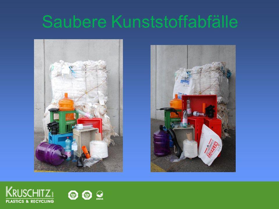 Saubere Kunststoffabfälle