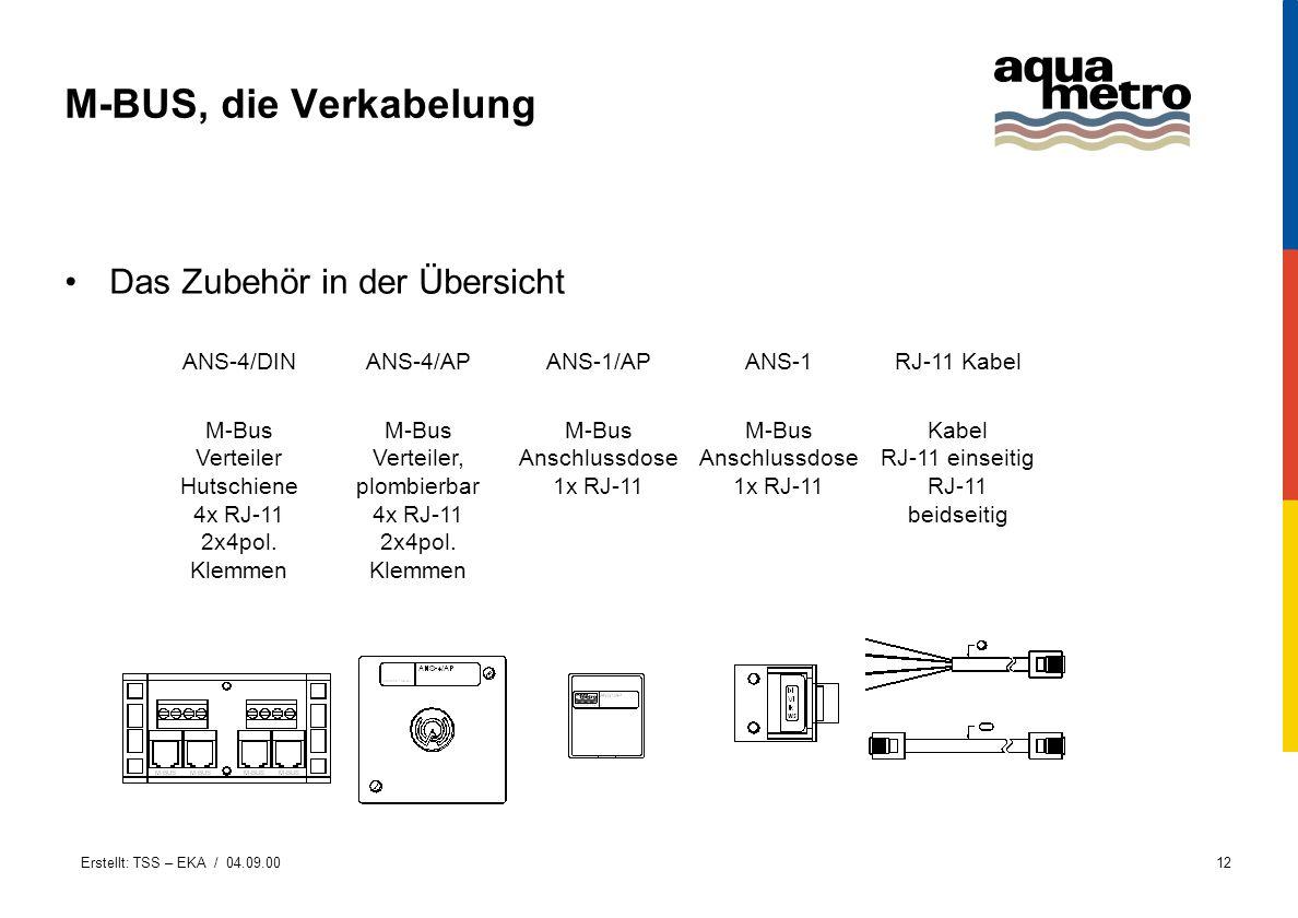 M-BUS, die Verkabelung Das Zubehör in der Übersicht ANS-4/DIN ANS-4/AP