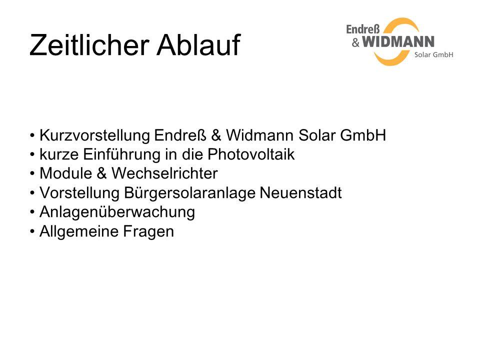 Zeitlicher Ablauf Kurzvorstellung Endreß & Widmann Solar GmbH
