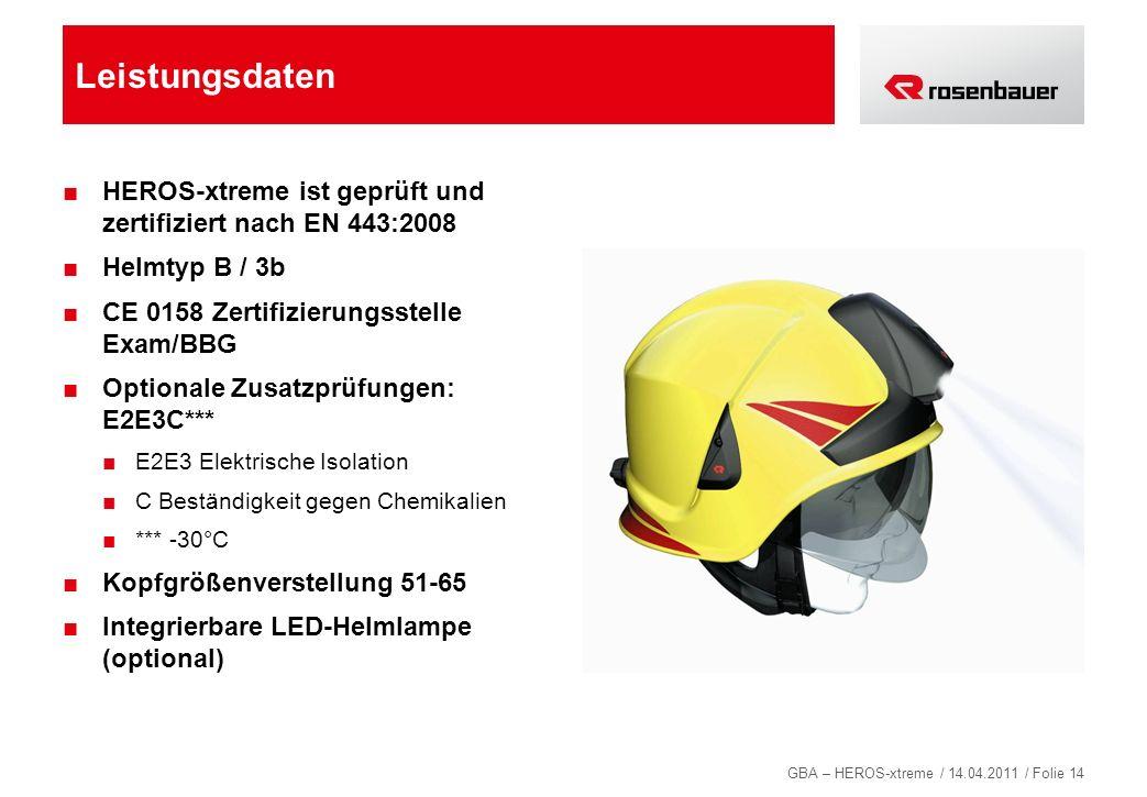 Leistungsdaten HEROS-xtreme ist geprüft und zertifiziert nach EN 443:2008. Helmtyp B / 3b. CE 0158 Zertifizierungsstelle Exam/BBG.
