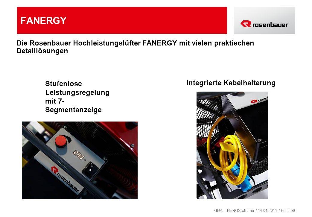 FANERGY Die Rosenbauer Hochleistungslüfter FANERGY mit vielen praktischen Detaillösungen. Stufenlose Leistungsregelung mit 7-Segmentanzeige.