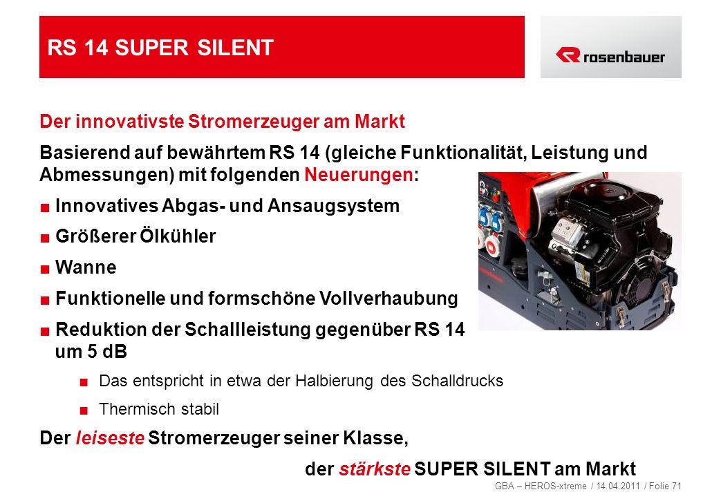 RS 14 SUPER SILENT Der innovativste Stromerzeuger am Markt