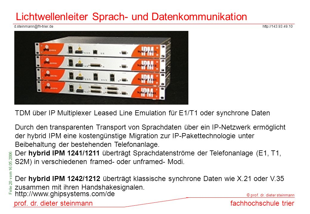 Lichtwellenleiter Sprach- und Datenkommunikation