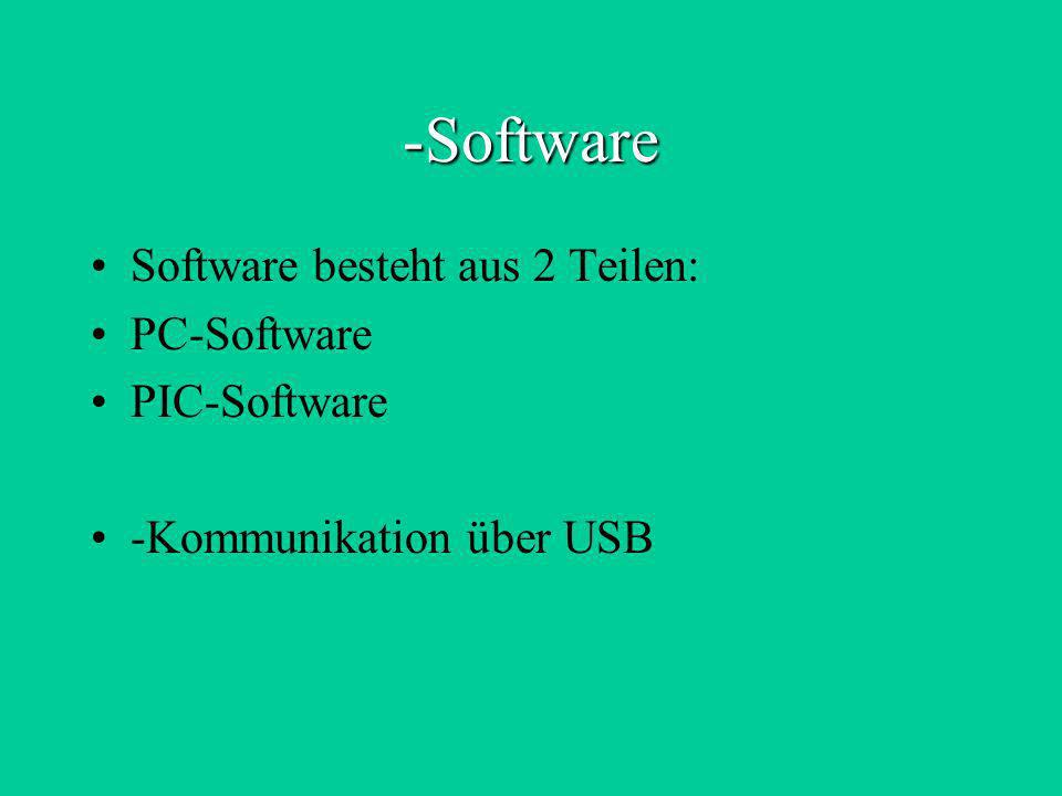 Software Software besteht aus 2 Teilen: PC-Software PIC-Software
