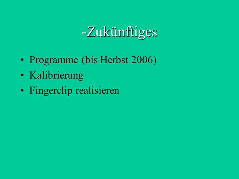 Zukünftiges Programme (bis Herbst 2006) Kalibrierung