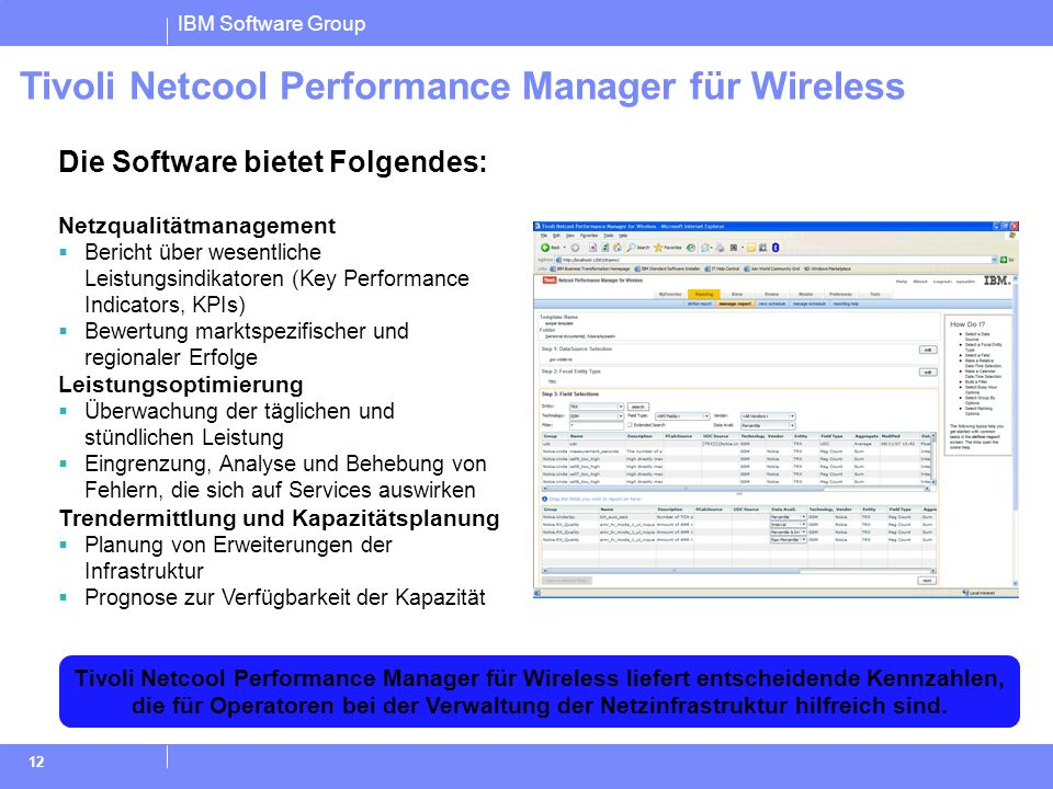 Tivoli Netcool Performance Manager für Wireless
