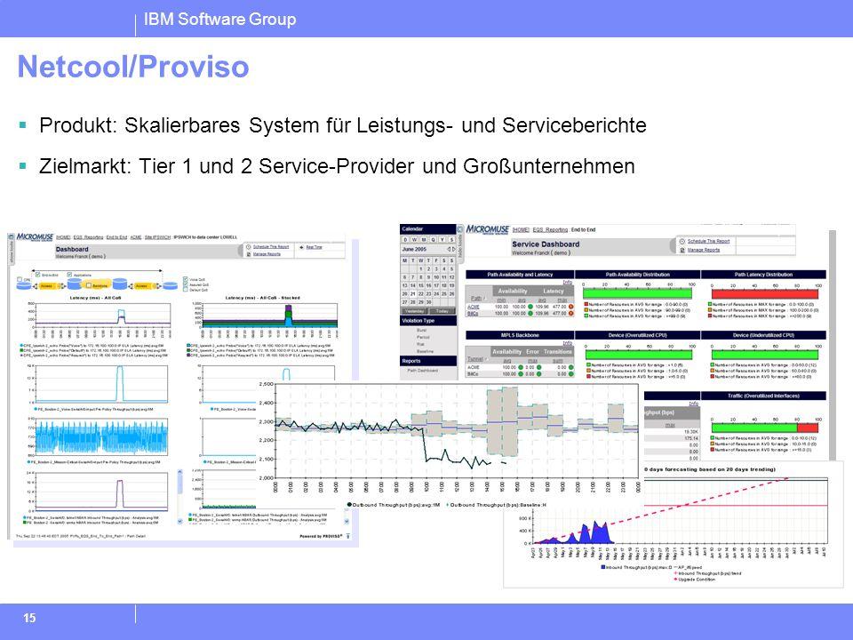 Netcool/Proviso Produkt: Skalierbares System für Leistungs- und Serviceberichte. Zielmarkt: Tier 1 und 2 Service-Provider und Großunternehmen.