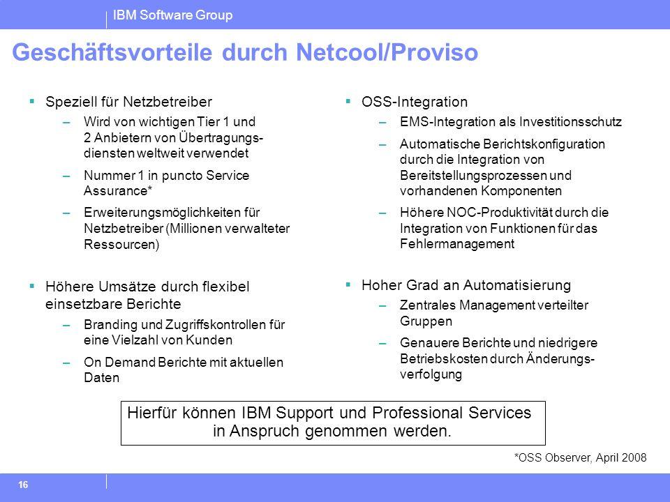 Geschäftsvorteile durch Netcool/Proviso