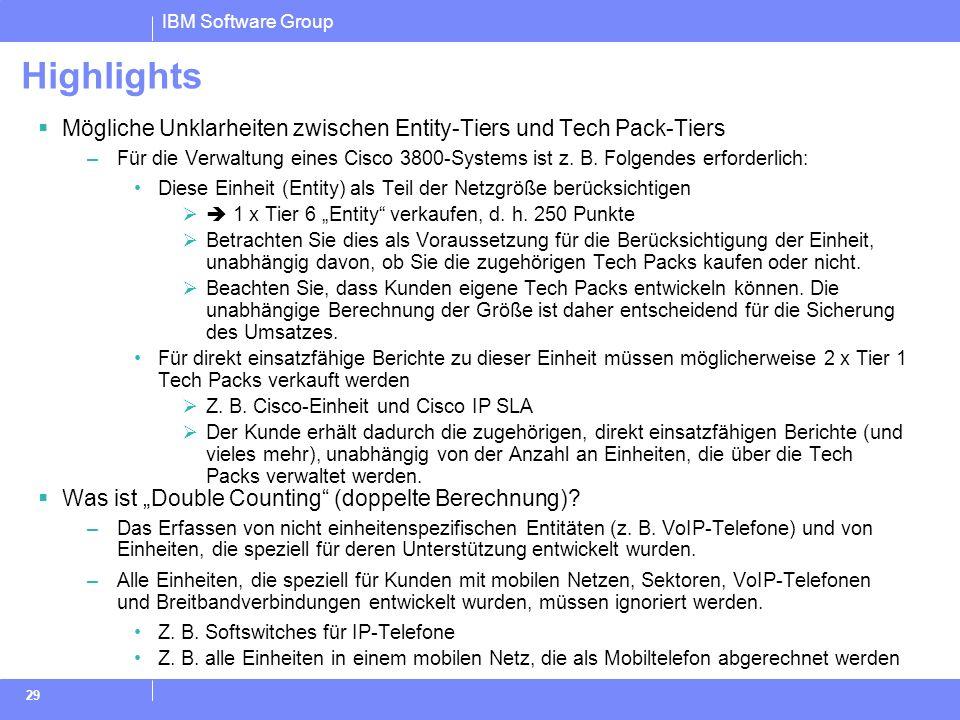 Highlights Mögliche Unklarheiten zwischen Entity-Tiers und Tech Pack-Tiers.