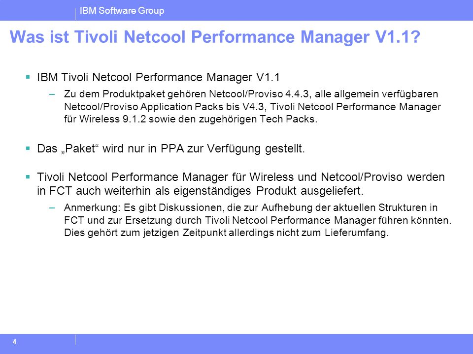 Was ist Tivoli Netcool Performance Manager V1.1
