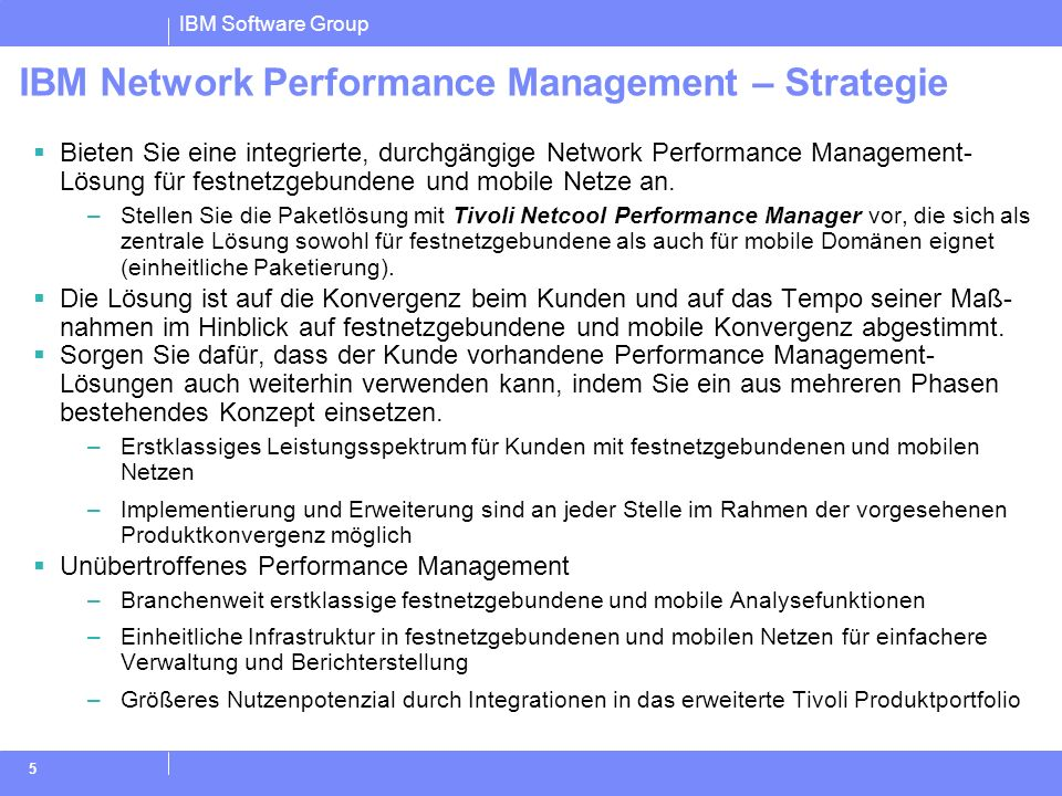IBM Network Performance Management – Strategie