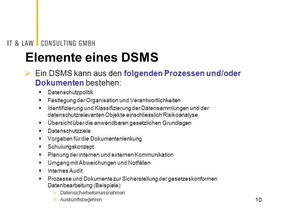 Elemente eines DSMS Ein DSMS kann aus den folgenden Prozessen und/oder Dokumenten bestehen: Datenschutzpolitik.