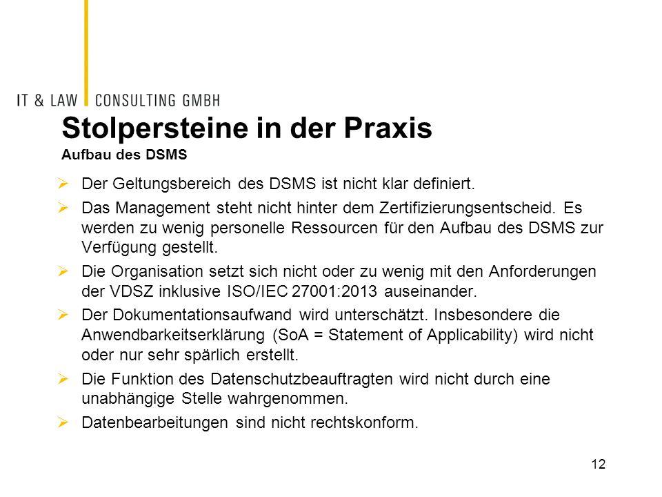 Stolpersteine in der Praxis Aufbau des DSMS